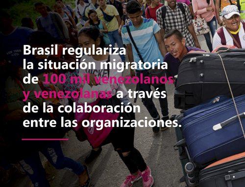 Brasil regulariza la situación migratoria de 100 mil venezolanos y venezolanas a través de la colaboración entre las organizaciones.
