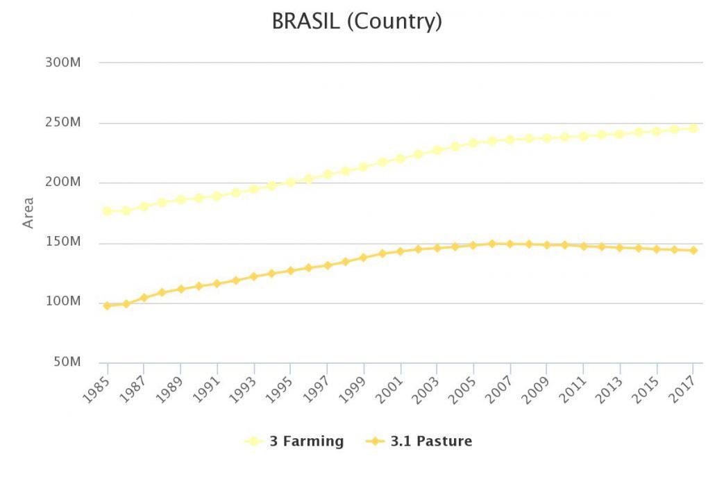 Evolución de pasturas y ganadería (Gráfico: MapBiomas)