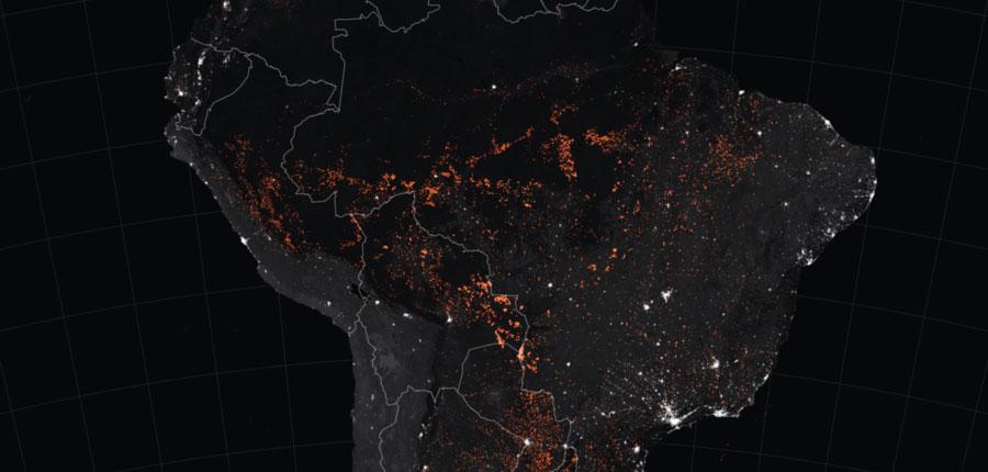 Incendios activos detectados entre el 15 y el 22 de agosto de 2019. (Imagen: NASA Earth Observatory)